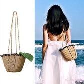 草編包沙灘包女斜挎度假泰國單肩包簡約草包編織包超火包斜跨包 AB7526 【Rose中大尺碼】