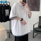 清爽假兩件短袖POLO衫男韓版潮流ins情侶T恤上衣夏季新款寬鬆半袖 黛尼時尚精品