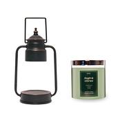 (組)EPOCHSIA x Pray守夜人金屬香氛蠟燭暖燈(S)-復古銅+柑橘鼠尾草
