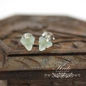 銀飾純銀耳環 淺水綠水晶 冰晶果凍感 6mm三角形 超好搭好看 925純銀寶石耳環 KATE銀飾