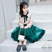 女童連身裙套裝裙兒童中大童公主紗裙【時尚大衣櫥】