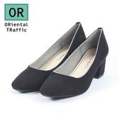 【ORiental TRaffic】純色金線微方頭中跟鞋-百搭黑