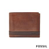 FOSSIL QUINN 真皮大零錢袋男夾-咖啡色 ML3653200