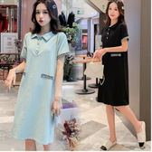 初心 【D8510】 小香風 翻領 短袖 修身 顯瘦 洋裝 OL 洋裝