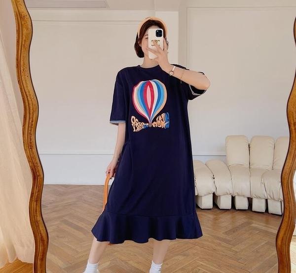洋裝 短袖 裙子 L-3XL新款/大碼荷葉邊裙擺織帶袖口短袖連身裙S109-8812.胖胖唯依
