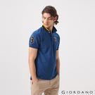 【GIORDANO】男裝麋鹿漸層刺繡短袖POLO衫-42 雪花深鯨魚藍