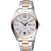 STAR 時代 城市摩登石英腕錶-銀x雙色版/39mm 9T1602-231RG-W