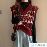 馬甲針織背心女兩件套秋冬外穿v領菱形格紅色毛衣【千尋之旅】