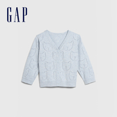 Gap 嬰兒 童趣鏤空動物針織開衫 577918-淺石楠藍