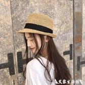 紳士帽休閒手工軟禮帽春夏季男女度假爵士帽海邊出游沙灘帽可折疊草帽子 艾家