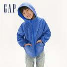 Gap男童 活力純色拼接袖拉鍊連帽外套 540245-航太藍