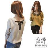 EASON SHOP(GW0869)韓版純色坑條紋短版露背後背蝴蝶結綁繩V領長袖針織毛衣衫女上衣服寬鬆內搭衫紅色