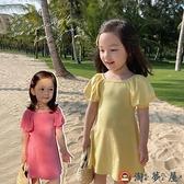 兒童泡泡袖連身裙女寶寶韓版潮流彈力裙子【淘夢屋】