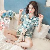 睡衣女夏季韓版清新學生可愛冰絲短袖小清新寬鬆兩件套裝 LR235【歐爸生活館】