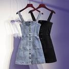 牛仔背帶裙女夏季時髦緊身泫雅風小個子包臀短裙背心裙吊帶連衣裙 小艾新品