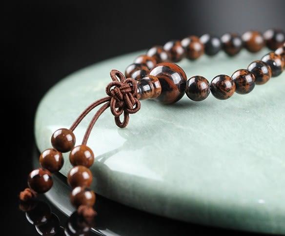 [協貿國際]天然金絲紅曜石108顆佛珠手鍊單條價