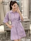 polo洋裝2020夏季新款Polo襯衫收腰顯瘦百搭腰帶紫色氣質連身裙中裙女神范 伊蒂斯