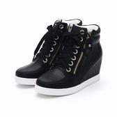 MICHELLE PARK 自信步調 韓版顯瘦雙拉鍊內增高高筒休閒鞋-黑