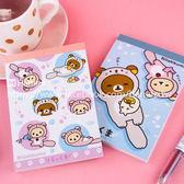 Hamee 日本正版 San-X 懶懶熊 拉拉熊 方形便條紙 留言紙 水獺變裝造型 (任選) RK11636A