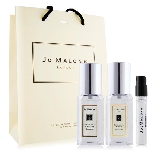 Jo Malone 英國梨+黑莓子(9ml)X2+杏桃花與蜂蜜針管香水 -贈提袋