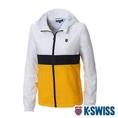 【超取】K-SWISS Attachable Hoody Jkt抗UV防風外套-女-白/黃