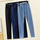 牛仔褲 大碼女裝200斤胖mm褲子顯瘦鬆緊腰牛仔褲秋裝新款高腰彈力褲子潮 萊俐亞