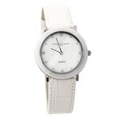 范倫鐵諾Valentino 簡約刻度珍珠貝面真皮腕錶 多角度切割手錶【NE1572】單支售價