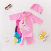 現貨 女童連體泳衣 長袖粉色小馬帶帽子款 兒童溫泉泳衣 女童泳裝
