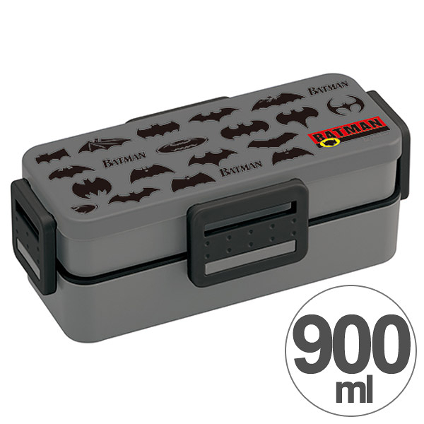 蝙蝠俠 330599 雙層 900ml 樂扣蓋 保鮮盒 便當盒 日本製 通販 奶爸商城