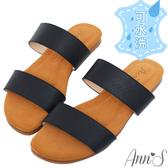 Ann'S水洗牛皮-寬腳板推薦舒適寬帶荔枝牛皮平底涼拖鞋-黑