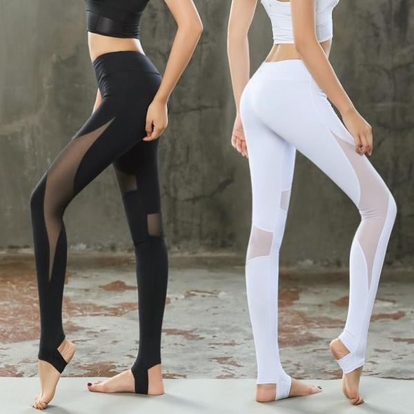 瑜伽服秋冬瑜伽褲女踩腳長褲速干彈力提臀運動緊身網紗健身瑜珈褲 挪威森林