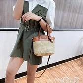 編織包2021新款斜背草編包手提女包編織度假包包水桶包小包包chic潮 雲朵