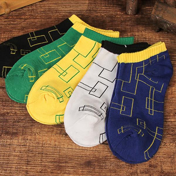 襪子 透氣吸汗船型襪 設計感格紋  【FSW105】123ok