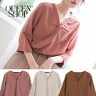 Queen Shop【01096371】V領素色雪紡上衣 三色售*現+預*