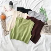 女學生無袖毛衣馬甲背心早秋季新款女裝韓版網紅短款坎肩上衣