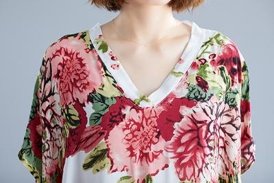 遮肚洋裝寬版長裙7049#波西米亞度假風V領連身裙花色超長袍子MB151-A.依品國際