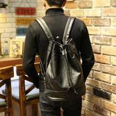 新品PU圓筒雙肩包男抽繩束口袋水桶背包旅行包運動健身包 【萬聖節八五折鉅惠】