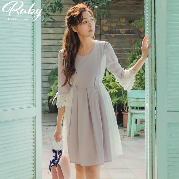 洋裝 壓褶拼接蕾絲蝴蝶結七分袖洋裝-Ruby s 露比午茶