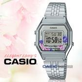 CASIO 卡西歐手錶專賣店 國隆 LA680WA-4C 電子女錶 不鏽鋼錶帶 玫瑰花圖樣 防水 碼錶功能 LA680WA