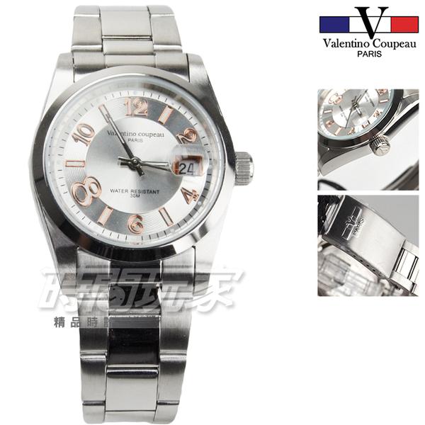 valentino coupeau范倫鐵諾 不銹鋼防水手錶 男錶 女錶 防水手錶 日期視窗 玫瑰金x白 VF12168白玫