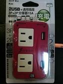 【台北益昌】朝日電工 2USB+通用插座 三面插 3P+2P分接器 R-63 突波保護【紅色】