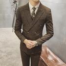找到自己品牌 韓國男 時尚格子 雙排扣 小西裝 修身西裝 西裝外套 單件外套