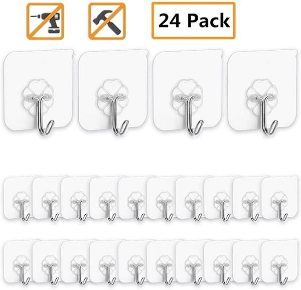 【美國代購】Adhesive Hooks 粘性掛鉤廚房壁鉤-24包重型13.2lb(Max)