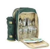 野餐包 含2人餐具組-野外露營燒烤保溫保冰個性綠色可拆卸雙肩後背包68ag28[時尚巴黎]