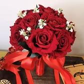 創意中式新娘結婚手捧花古典風婚禮秀禾服仿真絨布紅玫瑰手捧花 幸福第一站