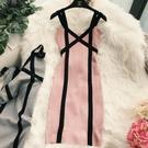 歐美風小心機V領撞色露肩小禮服彈力針織繃帶性感包臀夜店洋裝