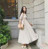 平口洋裝連衣裙女新款港味復古chic露肩一字領系帶氣質修身彈力腰長裙(行衣)