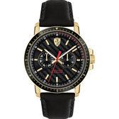 Scuderia Ferrari 法拉利 TURBO日曆手錶-黑x金框/42mm FA0830451