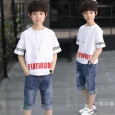 套裝童裝男童夏裝套裝2019新品中大童韓版兒童夏季短袖洋氣男孩潮帥氣