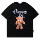 夏季新款小熊字母印花T恤男女潮流寬鬆休閒青春時尚純棉短袖體恤